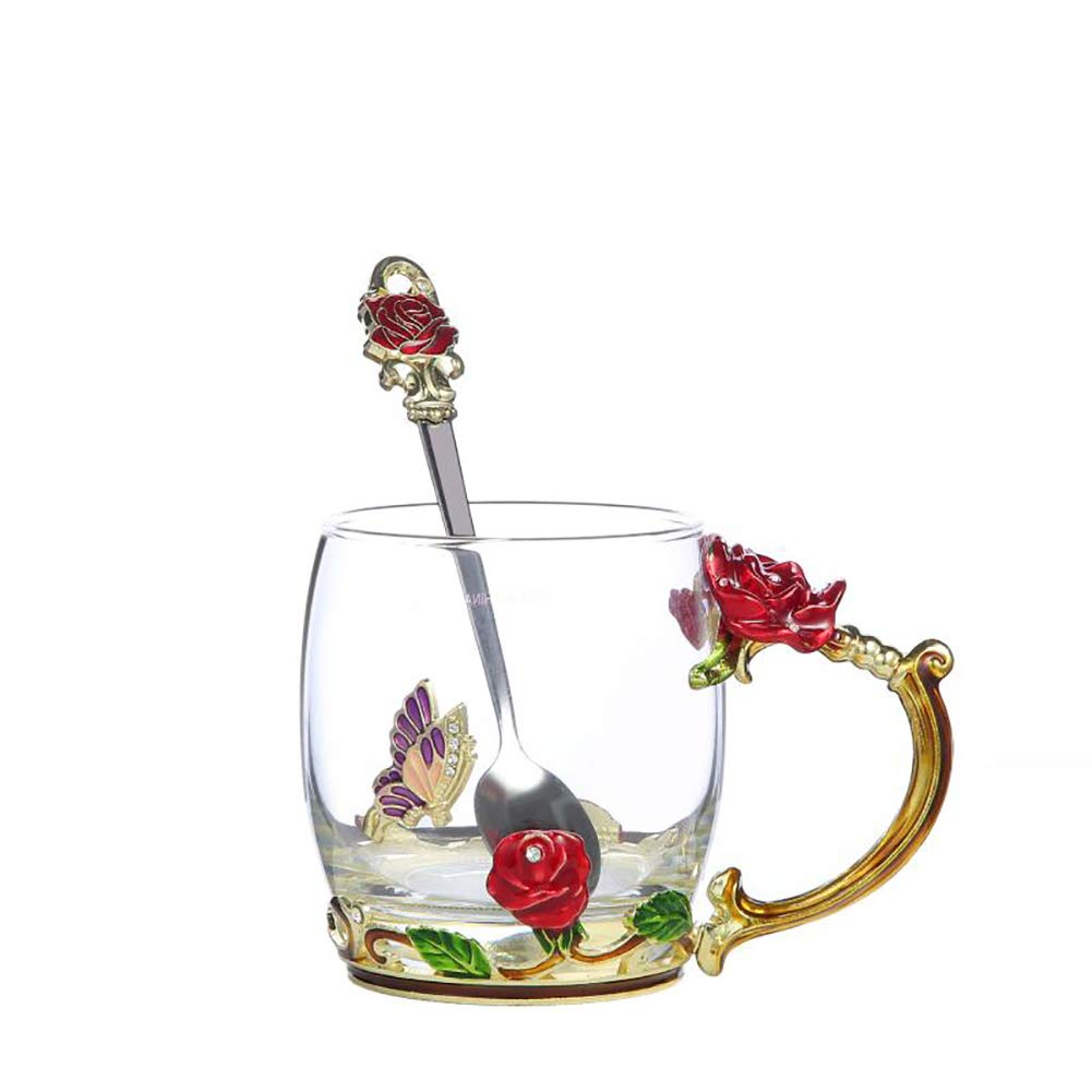 pink Red Short Coffee Cup 11 oz New Products 13-Piece 3D Flower Glass Tea Mug Set Hot And Cold Drinks Cups, Pots, Spoons And Coaster Flower Tea Set Milk, Coffee Luxury Gift Box Packing (Combination, Red Short)