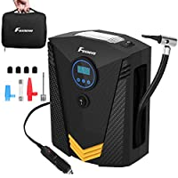 Foxnovo Tire Inflator for Car/Portable Air Compressor/Car Tire Pump/Auto Tire Pump with Pressure Gauge- Easy to Store - Auto Shut Off -Emergency Led Lighting & Long Cable for Car