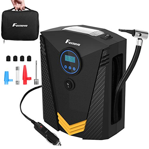Foxnovo Portable Air Compressor Tire Inflator, Auto Digital Tire Inflator 12V 150 PSI Tire Pump with Emergency Led Lighting and Long Cable for Car, Truck, Bicycle, Motorcycles, Balls and Others