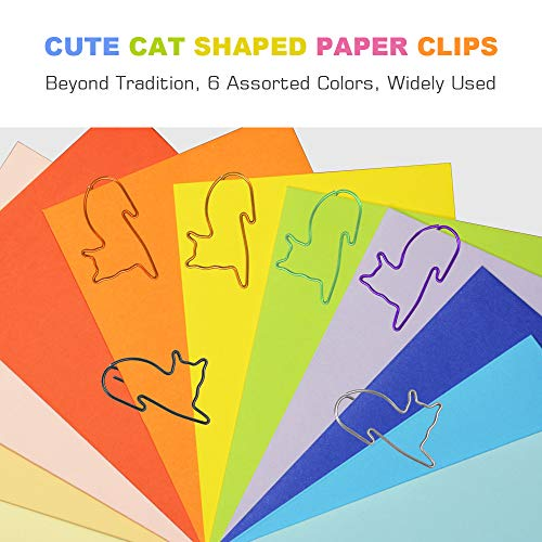 Paper Clips, Cute Cat Shaped Clips, Office Supplies Clips Assorted Colors, Funny Paper Clips for Teacher Notebook Bookmark Decoration,Cat Lover Gifts for Women(60PCS) Photo #2