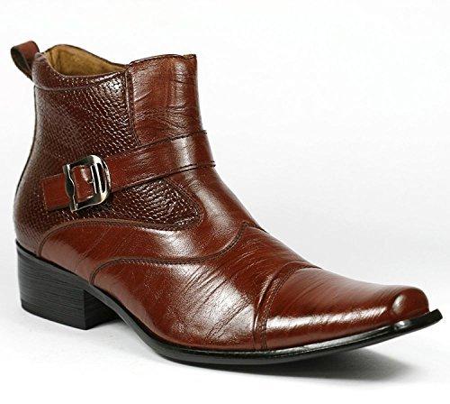 Delli Aldo Men's Buckle Strap Ankle High Dress Boots Shoes (9.5, Brown)