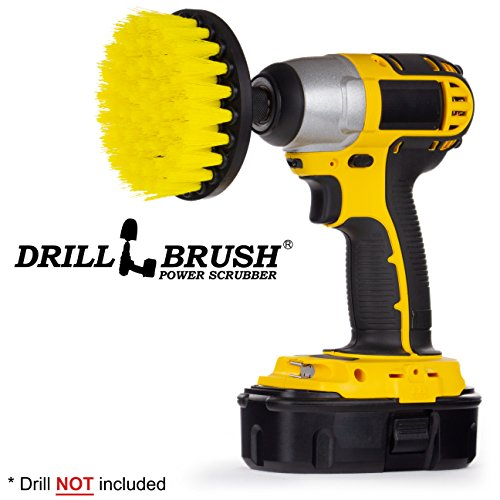 Drillbrush 4 Inch Diameter Power Spinning Detailing Nylon Scrub Brush with Quarter Inch Quick Change Shaft