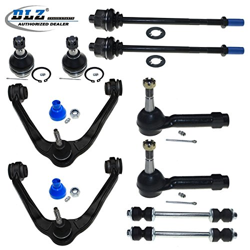 DLZ 10 Pc Front Kit-Upper Control Arm Ball Joint Assembly Lower Ball Joint Inner Outer Tie Rod End Sway Bar Compatible with Cadillac Escalade/Chevy Avalanche Silverado 1500 Tahoe/GMC Sierra 1500 Yukon ()
