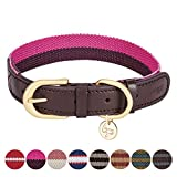 """Blueberry Pet 8 Colors Polyester Fabric Webbing and Soft Genuine Leather Dog Collar in Hot Pink and Purple, Medium, Neck 15""""-18"""", Adjustable Collars for Dogs"""