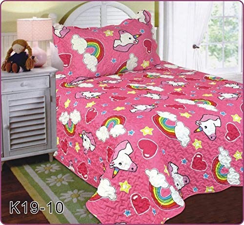 Elegant Home Unicorn Rainbow Hearts Stars Cute Beautiful Girls Mutlicolor Design Twin Size 2 Piece Coverlet Bedspread Quilt for Kids Teens/Girls # Unicorn (Pink)
