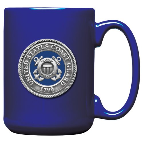 1pc, Pewter Coast Guard Coffee Mug, Cobalt
