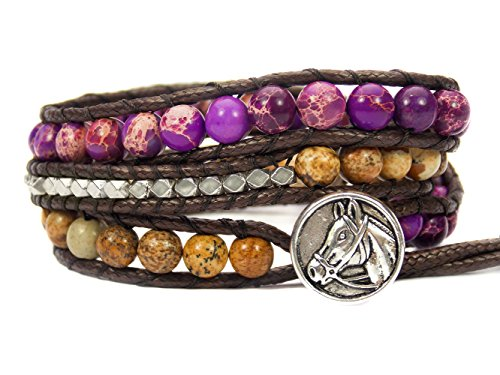 Horse Lovers Equestrian Bracelet Jasper Bead Wrap (Purple)