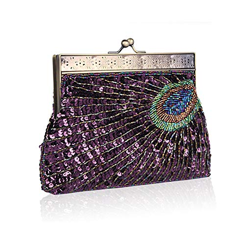 Glitter Sequin Vintage Wedding Fashion Beaded Body Peacock Party Purple Womens Cross Clutch Bag Handbag Biback Evening Purse 5wInqvSpPS