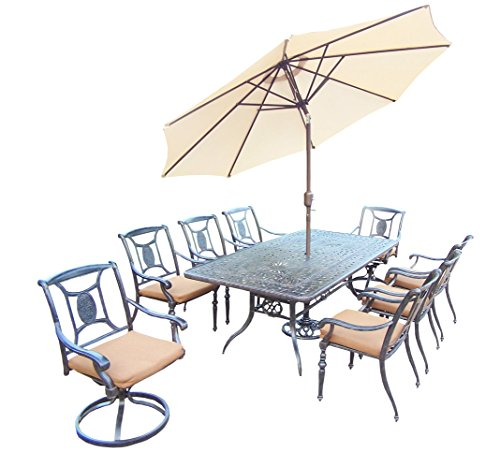 Oakland Living Victoria 11-Piece Furniture Set with 84 by 42-Inch Rectangle Table, 6 Stackable Chairs, 2 Swivel Rockers, Sunbrella Cushions, 9-Feet Tilt and Crank Beige Umbrella and - Chair Rocker Victoria Swivel