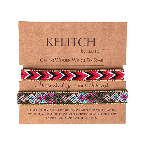 KELITCH Handmade Macrame Colour Candy Wide Bohemia Woven Friendship Bracelet Fashion New Jewelryn (Green Red 01B) by KELITCH (Image #1)