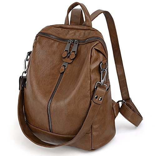 UTO Women Backpack Purse PU Washed Leather Convertible Ladies Rucksack Zipper Pockets Earphone Hole Shoulder Bag Brown by UTO (Image #7)