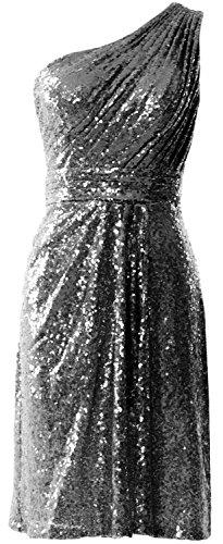 Sequin One Bridesmaid Gown Women Cocktail Grau Shoulder MACloth Fomral Short Dress wZfqtW