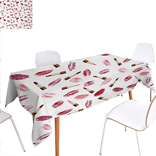 - Warm Family Cosmetics Customized Tablecloth Beauty Theme Pink and Burgundy Lipstick and Kiss Pattern Makeup Concept Stain Resistant Wrinkle Tablecloth 60