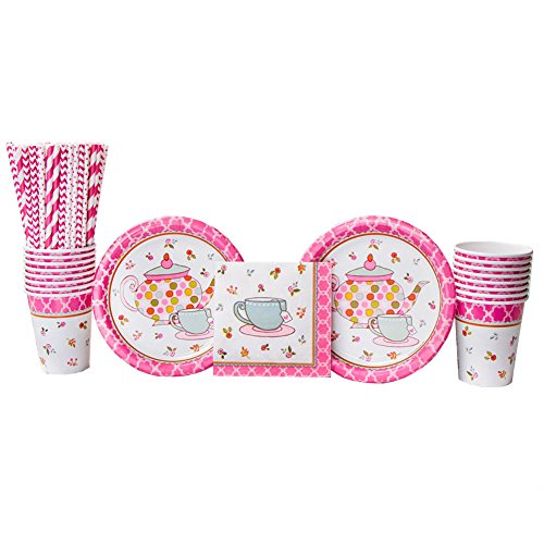 Tea Time Party Supplies Pack for 16 Guests: Straws, Dessert Plates, Beverage Napkins, and Cups (Bundle for 16) (Invites Napkins Cups Plates)