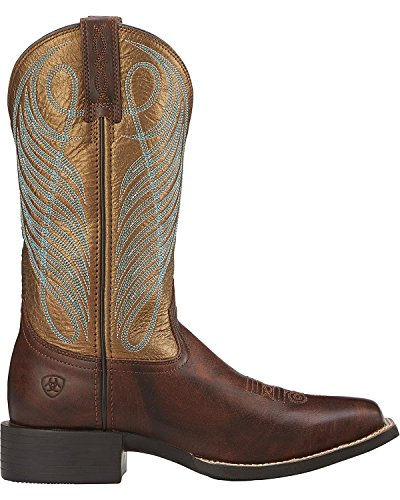 Ariat Womens Round Up Large Bout Carré Cow-boy Western Botte Yukon Marron