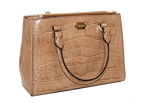Embossed Large Satchel - MICHAEL Michael Kors Women's KELLEN XSMALL SATCHEL Embossed Leather Shoulder Handbags (Walnut)