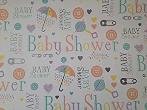 Baby Shower Gift Wrap, wrapping paper 2 Sheets: Amazon.co.uk ...