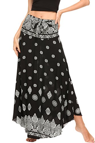 SE MIU Women's Long Bohemian Style Floral Print Boho Hippie Maxi Skirt, Black, XX-Large (Full Skirt Belt)