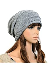 Bluelans® Fashion Hip-Hop Warm Soft Stretch Knit Crochet Slouch Beanie Hat Skull Cap (Grey)