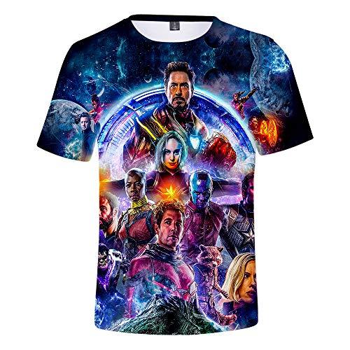 Avengers Endgame Shirt Kids Heros Cosplay T-Shirt 3D Full Printed Short Sleeves Sport Tee Shirts for Girls Boys Toddler ()