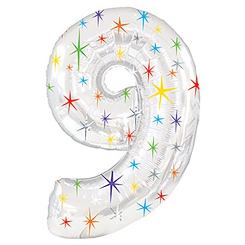 Creative Converting CTI Mylar Balloons, Number 9, 38'', Silver pack of 5