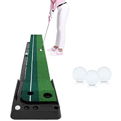 Pro Putting Green Mat | Indoor Golf Portable Practice Device with Ball Auto Return System,Mini Golf Practice Training Aid Equipment for Home, Office (from US, Green): Kitchen & Dining