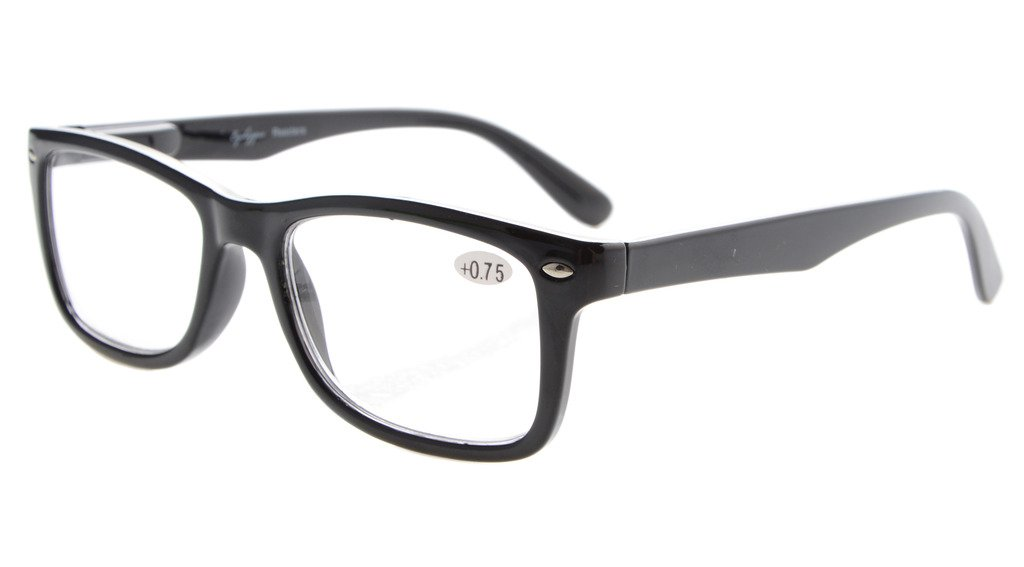 Eyekepper Readers Spring-Hinges Quality Classic Vintage Style Reading Glasses Black +0.5
