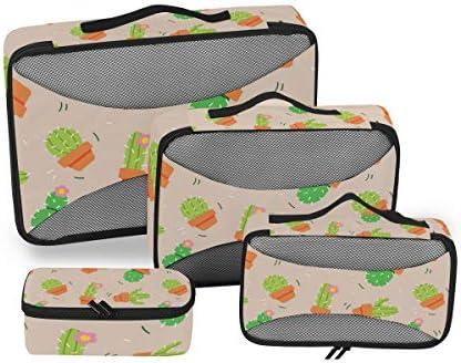 グリーンサボテンサボテン荷物パッキングキューブオーガナイザートイレタリーランドリーストレージバッグポーチパックキューブ4さまざまなサイズセットトラベルキッズレディース
