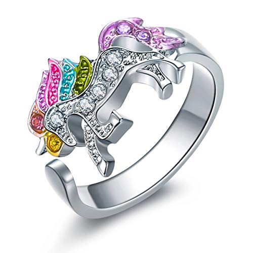 ALoveSoul Adjustable Silver Tone Little Princess Rainbow Unicorn Ring Girl Ladies Fashion Rings Gift for Women -