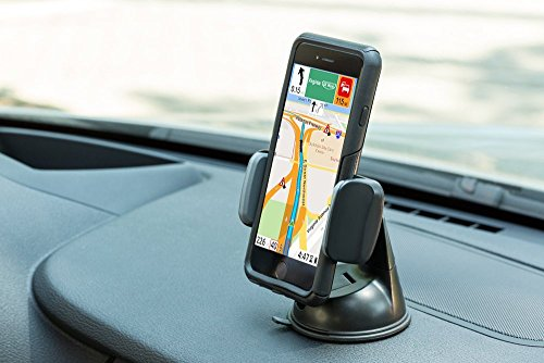 Teammao Car Phone Mount, Cell Phone Holder for Dashboard & Windshield for IPhone 7s 6s Plus 6s 5s 5c Samsung Galaxy S8 Edge S7 S6 Nexus 5X Moto E HTC Sony All Smartphones. (black)