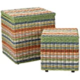 East at Main Hawthorne Multi-Colored Storage Ottoman Cubes (Set of 2 ), (18x18x20)