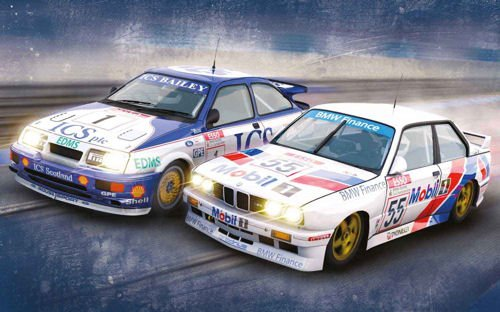 Scalextric Touring Legends Ford Sierra RS500 vs BMW E30 Slot Cars Twin Pack (1:32 Scale)