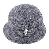 Womens GATSBY 1920s Winter Wool Cap Beret Beanie Cloche Bucket Hat A299 (Gray)
