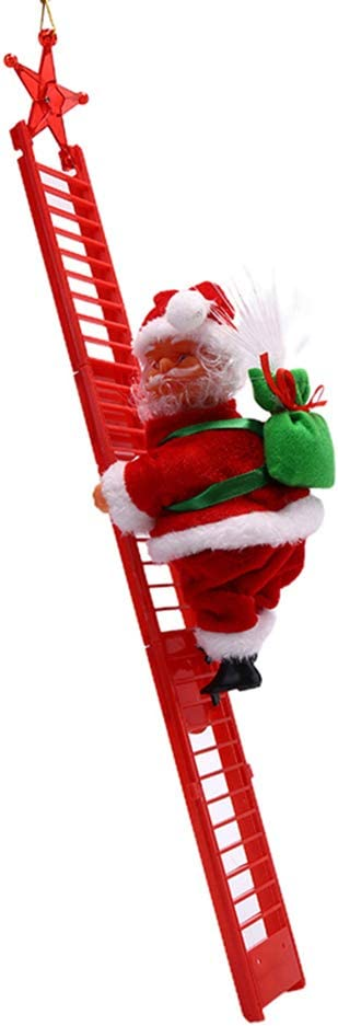 Ioffersuper Santa Climbing Ladder Christmas Decoration Electric Santa Claus Climbing Rope Ladder, Christmas Super Climbing Santa Plush Doll Toy for Christmas Tree Ornament (Red)