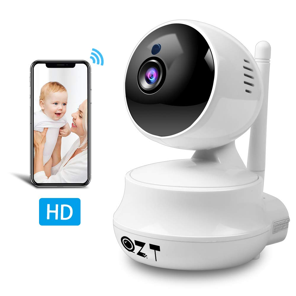 Cámara IP 720P, QZT HD Cámara de Vigilancia WiFi Interior, Seguridad de Cámara con Visión Nocturna, Detección de Movimiento, Email Alarma, PZT, Inalámbrico Cámara con Mascota/Bebé / Oficina/Tienda