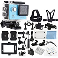 4K Ultra HD DV 12MP 1080p 60fps Sports Action Camera (Blue) - Wi-Fi + 170° Wide Angle Lens + Waterproof Case, Clip & Bracket - Chest & Head Strap - Bike Bracket - Monopod - Top Value Accessory Bundle