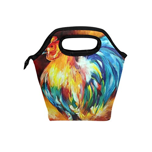Florence Cool Rooster Painting Cooler Warm Pouch Lunch Bags Lunchbox For School Work Portable Meal Handbags Food Container Tote For Picnic