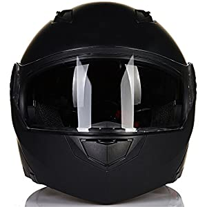 ILM 8 Colors Motorcycle Modular Flip up Dual Visor Helmet DOT (XL, Matte Black)