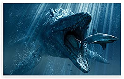 """24"""" Mini-Mural Sea Scape Series Dinosaur Mosasaurus #1 Wall Decal Sticker Graphic Home Kids Game Room Office Landscape Art Man Cave Decor NEW"""