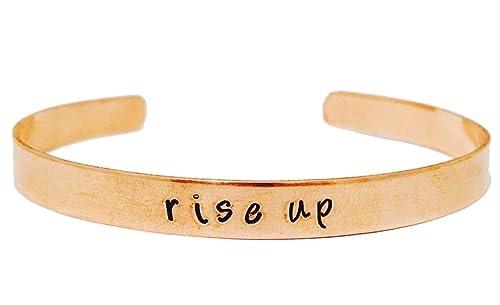 12b04b885378f Theatre Nerds Rise Up Copper Cuff Bracelet - Hand Stamped Hamilton Broadway  Musical Inspired