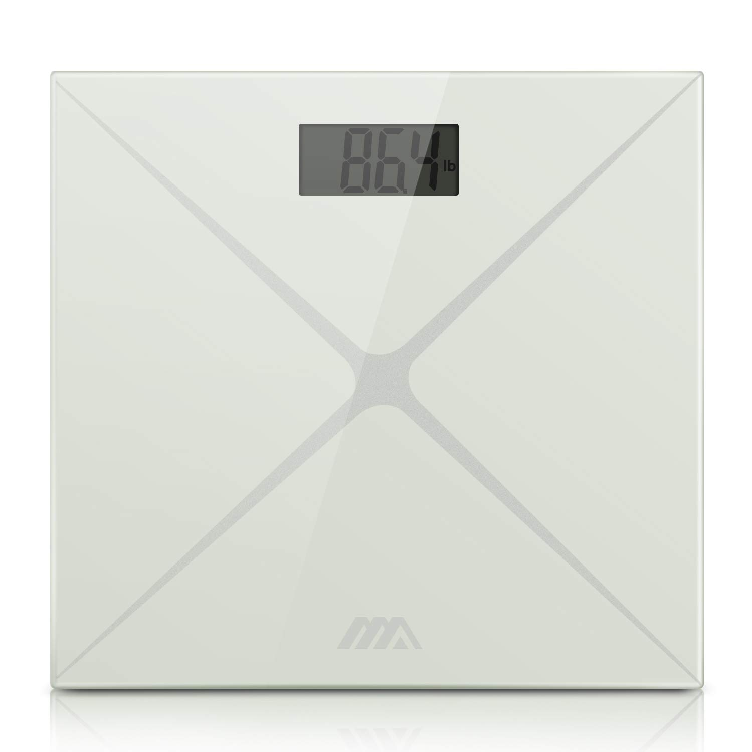 Digital Body Weight Scale, Bathroom Scale with Advanced Step-on Technology and LCD Backlight Display Scale,Tempered Glass Surface (White Silver) by AdorioPower (Image #2)