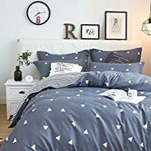 Uozzi Bedding 3 Piece Duvet Cover Set Queen, Reversible Printing with Brushed Microfiber, Lightweight Soft, Easy Care, Simple Comforter Cover 3PC Bedding Set, 30-day Free Return (Gray-blue, Queen)