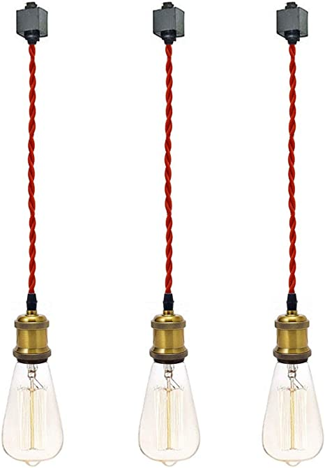 Kiven H Type 3 Wire Track Pendant Light 3 3 Feet Red Weave Rope Cord Iron Retro Style Lighting Industrial Factory Pendant Lamp 3 Pack Amazon Com