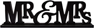 "Rustic Wood MR & MRS Sign for Home Decor, Decorative Wooden Cutout Word Decor Freestanding MR & MRS Tabletop Decor, 16.2"" X 4.85"" Black MR & MRS Block Letters Sign MR & MRS Mantel Decor"