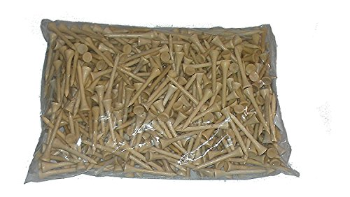 500 Natural Wood Color GOLF TEES. 2 3/4'' Long Tees. Comes in Clear Bag by New York Golf Center