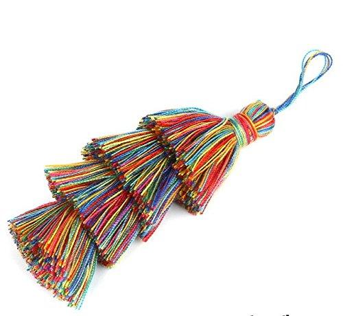 1Pcs/Bag 8cm+2cm Multi Color Four Layer Poly Cotton Tassel Charm Pendant for Necklace Key Chain Bag Clothing Decor DIY Jewelry