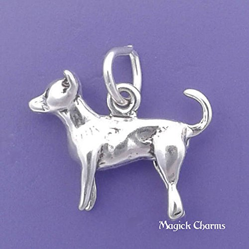 Chihuahua Charm 925 Sterling Silver Dog 3-D Pendant Jewelry Making Supply, Pendant, Charms, Bracelet, DIY Crafting by Wholesale Charms