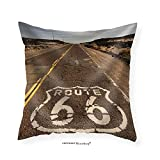 VROSELV Custom Cotton Linen Pillowcase The historic route 66 road still survives in the southwest - Fabric Home Decor 22''x22''