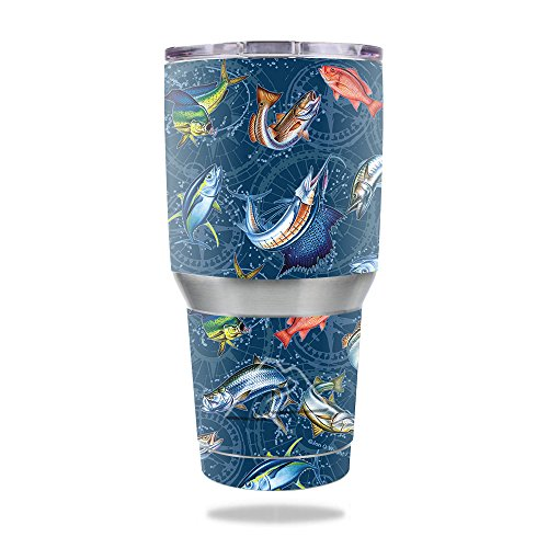 MightySkins Skin for Ozark Trail 30 oz Tumbler - Saltwater Compass | Protective, Durable, and Unique Vinyl Decal wrap Cover | Easy to Apply, Remove, and Change Styles | Made in The USA