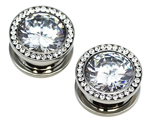 - Chrome Titanium Cubic Zirconia Screw On Plugs (1/2 Inch) - Fashion Large White Gem Plug Earring 1/2 Inch (1 Pair)